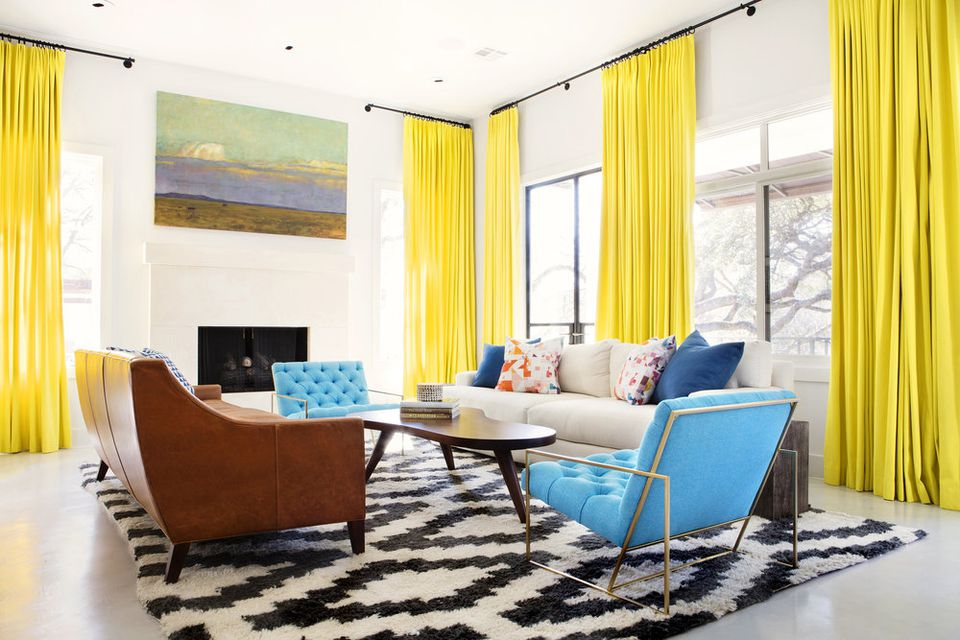 yellow curtains in bachelor pad