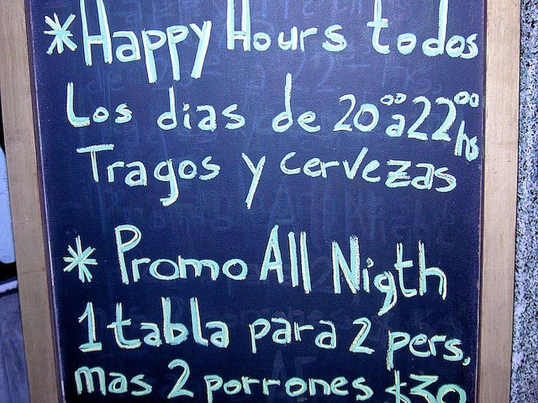 Sign at bar in Buenos Aires.