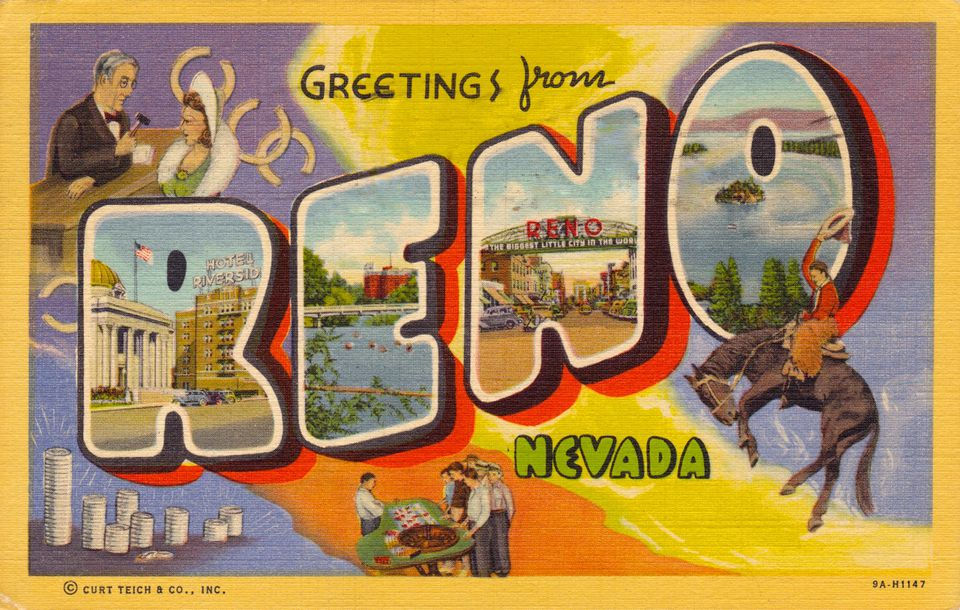 Reno nevada is a cool western destination reno nevada vintage postcard solutioingenieria Image collections