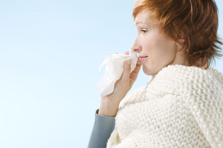 Portrait of Claire sneezing