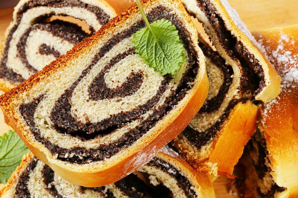 poppy swiss roll slices