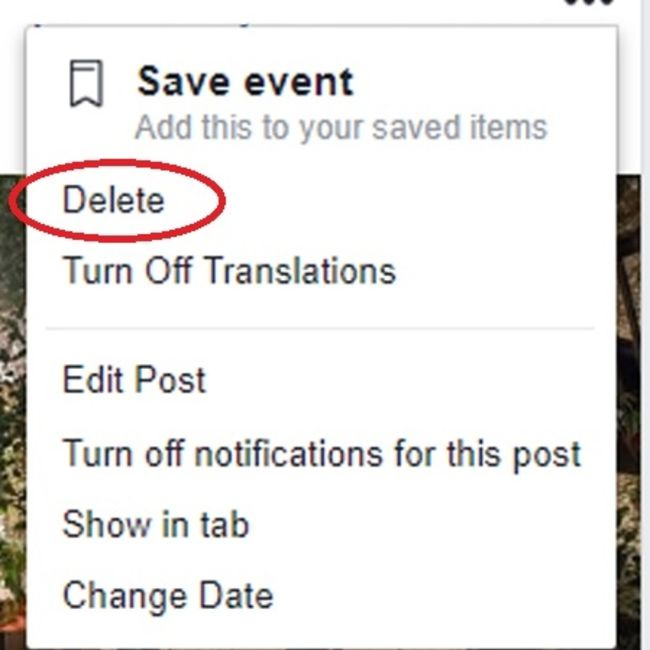 delete facebook post