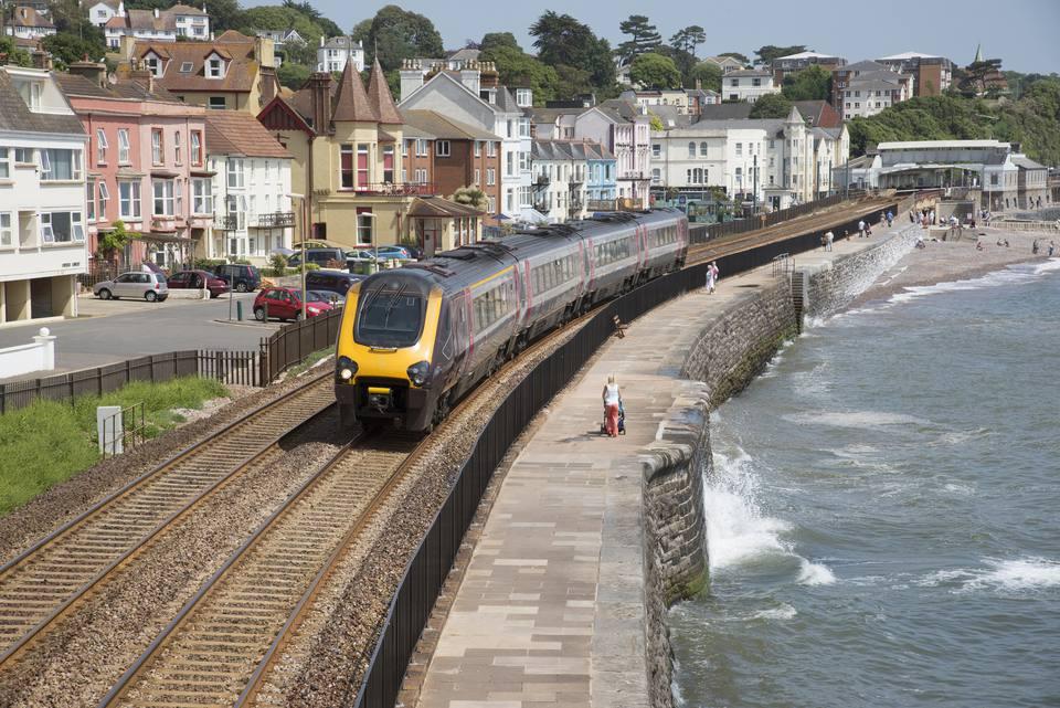 Cross country service passenger train at Dawlish Devon UK