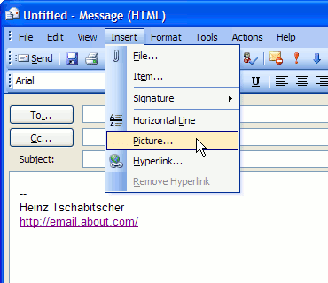 how to insert a graphic in outlook signature