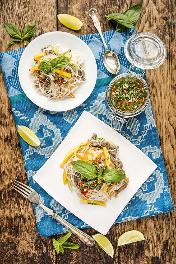 Mango and beef rice noodle salad recipe
