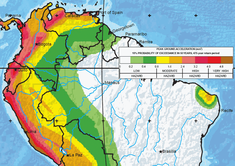 Major earthquake zones on each continent south america map north half global seismic hazard assessment program gumiabroncs Gallery