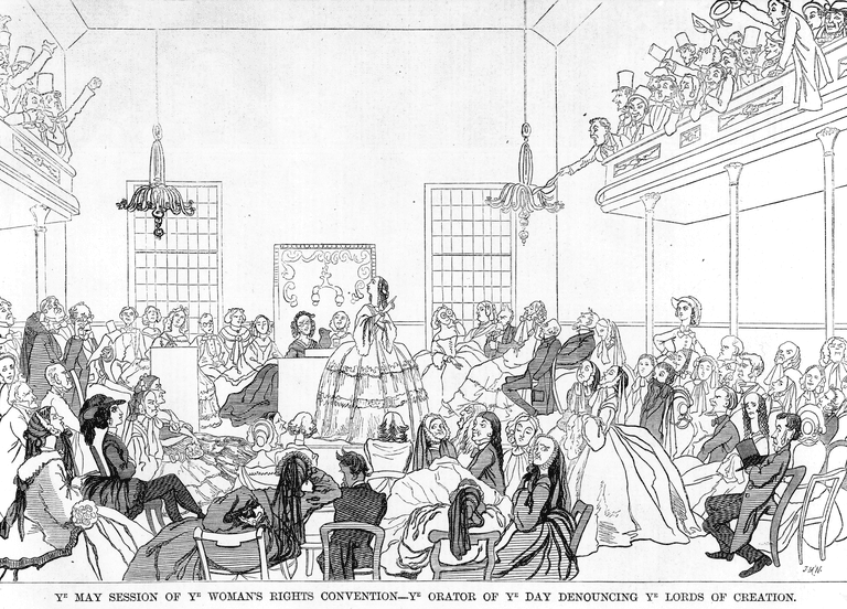 Cartoon satirizing Women's Rights Convention 1859