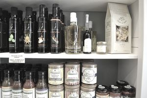 Specialty foods on a store shelf
