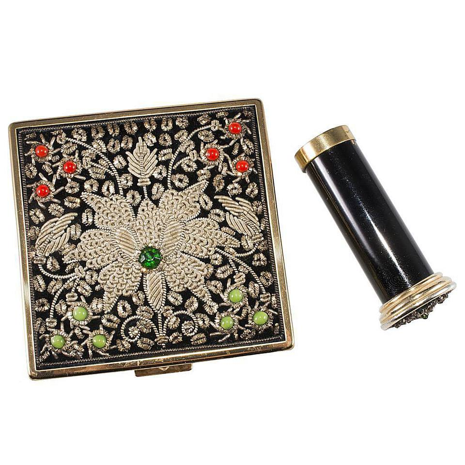 Ciner Embroidered Compact with Matching Lipstick