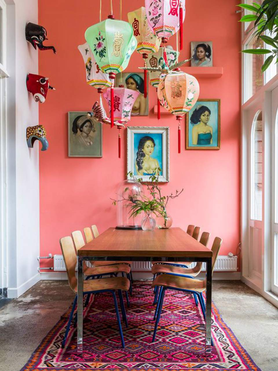 Coral dining room wall