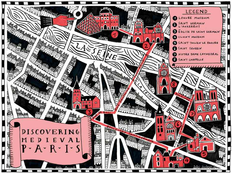 This map shows major medieval sites in Paris that remain open to visitors.