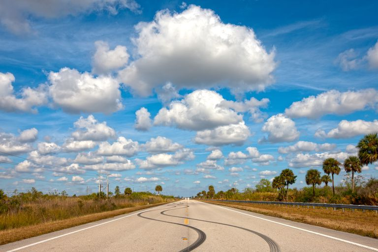 cumulus sky open road
