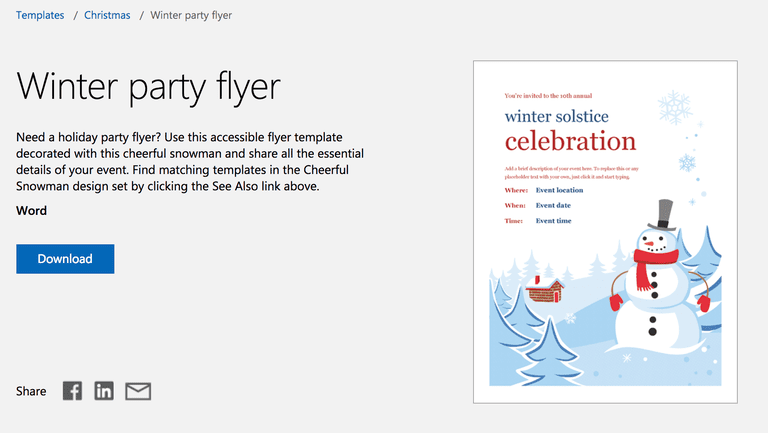 Winter Party Flyer for Microsoft Word
