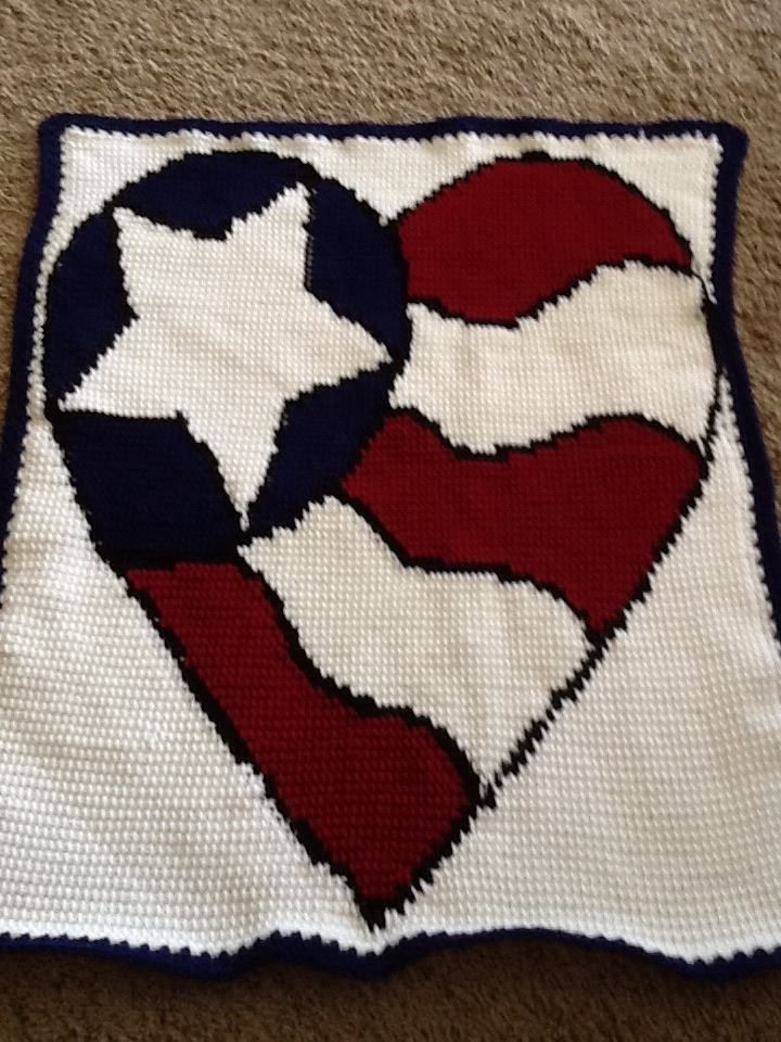 Tunisian Crochet Heart Flag Blanket Pattern