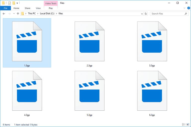 Screenshot of several 3GP files in Windows 10