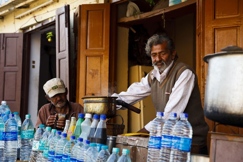 Chai and water seller in India.