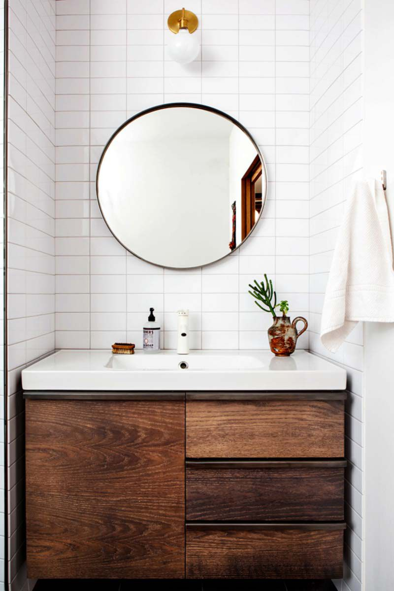 Bathroom with subway tiles - Stacked Subway Tile And Wood Vanity