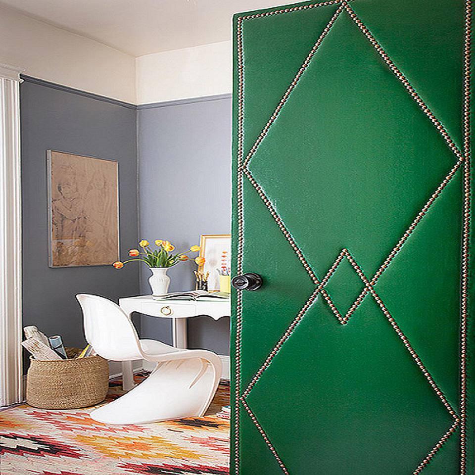 Upholstered Door with Nailhead Trim