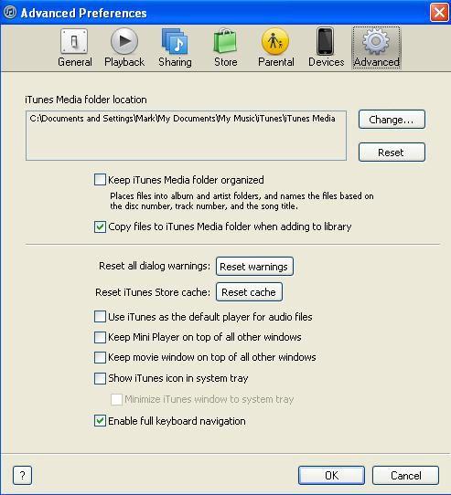 iTunes Advanced Preferences