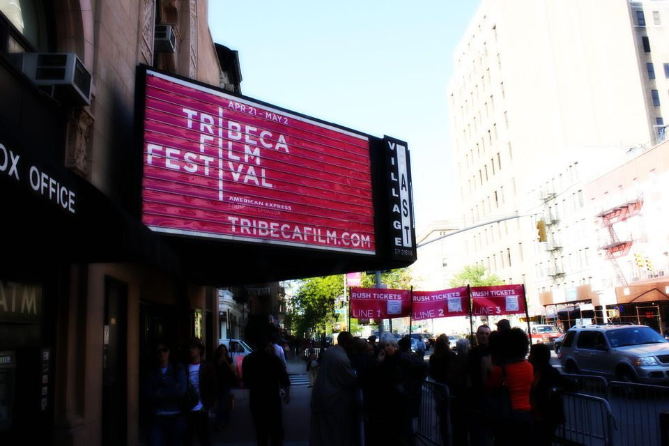 """Rush Tickets at Tribeca Film Festival getting in line for our """"rush tickets"""" for Arias with a Twist at one of the Tribeca Film Festival locations"""