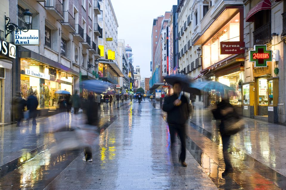 A rainy street in Madrid, Spain