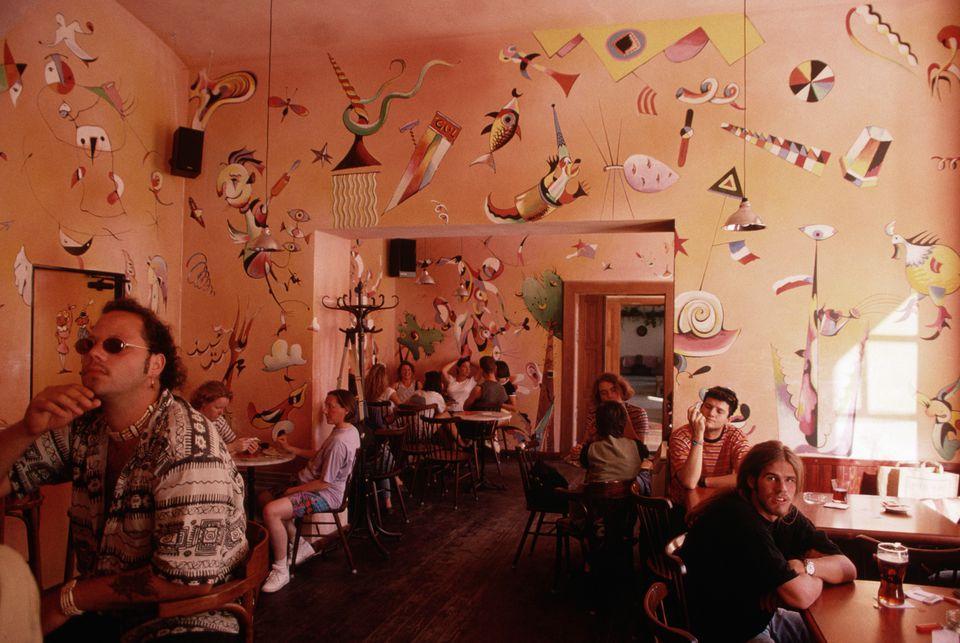 The interior of Gulu Gulu in Prague.