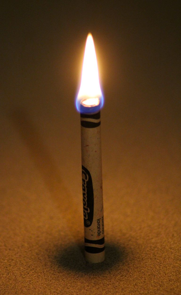 You can use a crayon as a candle. The paper acts as a wick for the crayon wax.