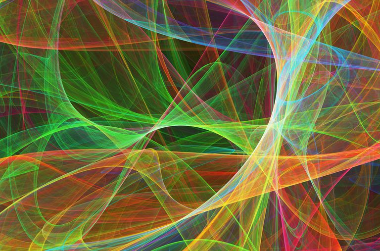 Colorful strings, depicting an artistic interpretation of string theory