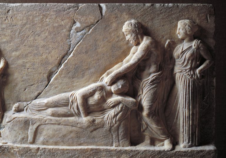 Relief portraying Asclepius visiting youth.