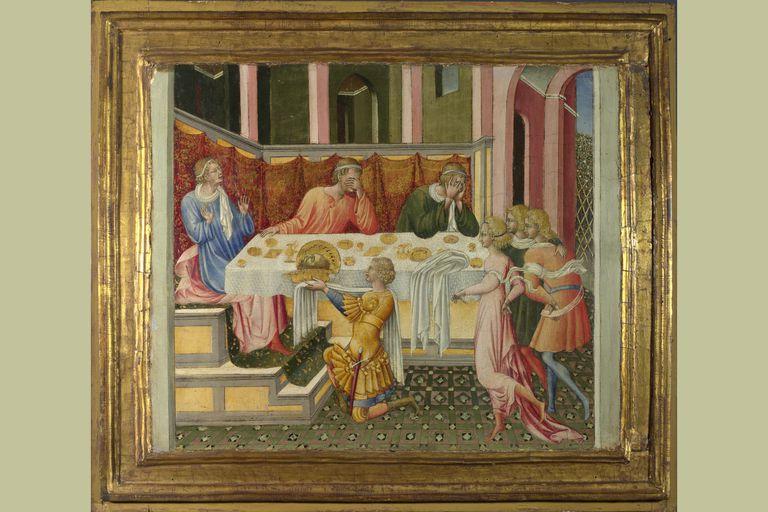 The Head of John the Baptist brought to Herod (Predella Panel), 1454, Giovanni di Paolo