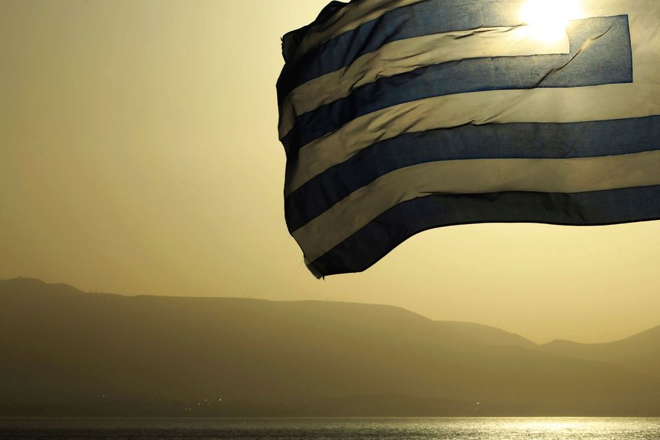 greek flag flying