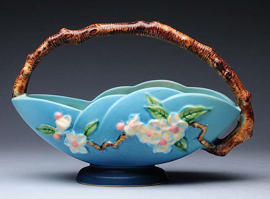 Roseville Blue Apple Blossom Basket