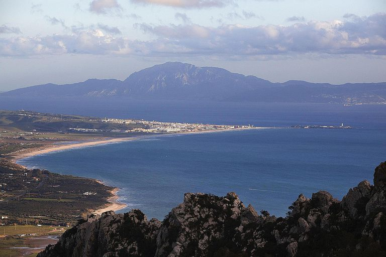 Strait Of Gilbraltar With Africa In The Background; Tarifa Cadiz Andalusia Spain
