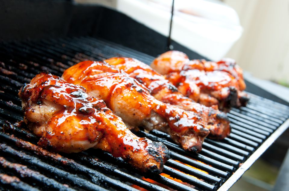 Barbecue chicken on grill
