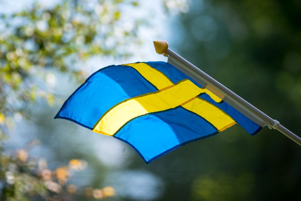 Swedish flag on pole
