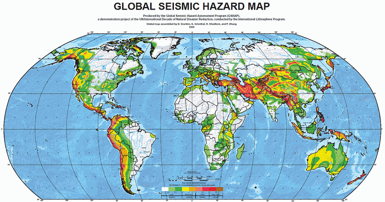 Major earthquake zones on each continent global seismic hazard map of the world gumiabroncs Gallery