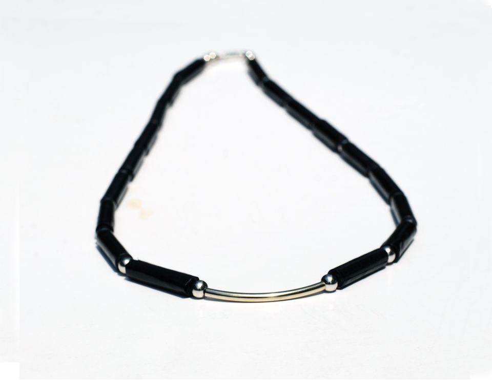 black paper and silver bead necklace