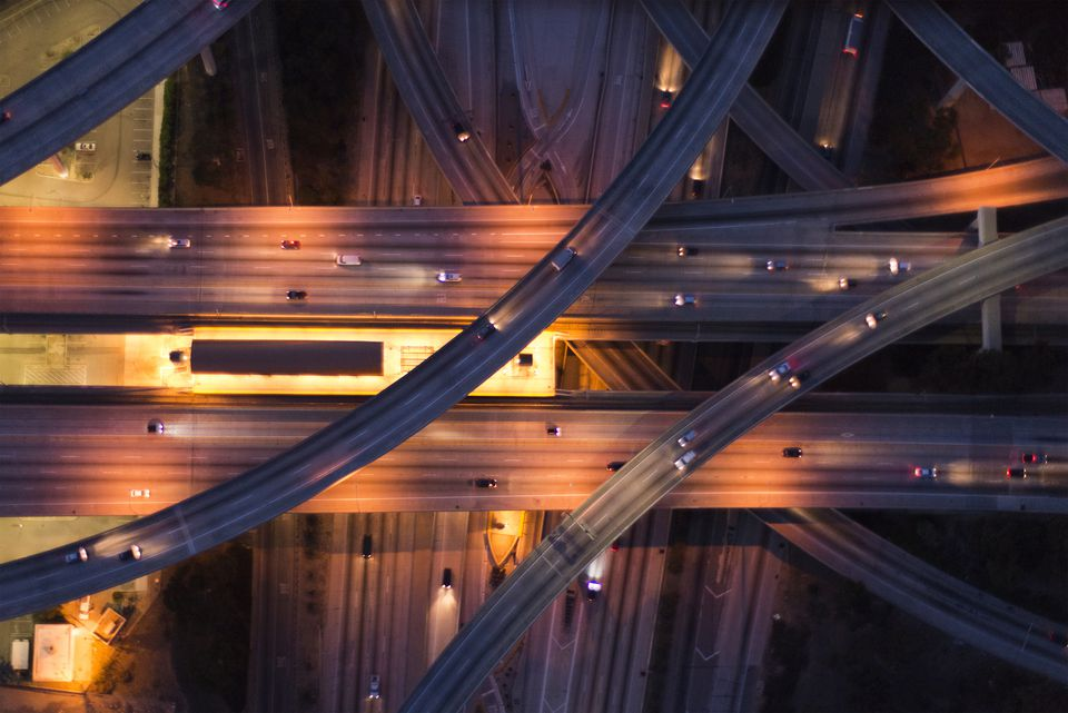 aerial view of the city overpass at dusk,LA