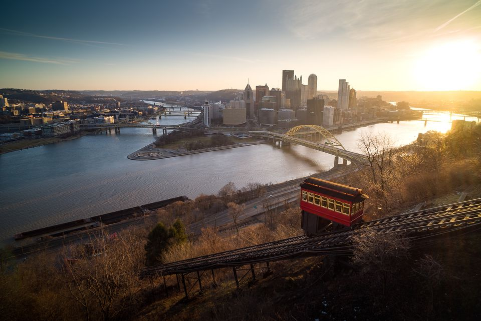 The Duquesne Incline in the morning sun.