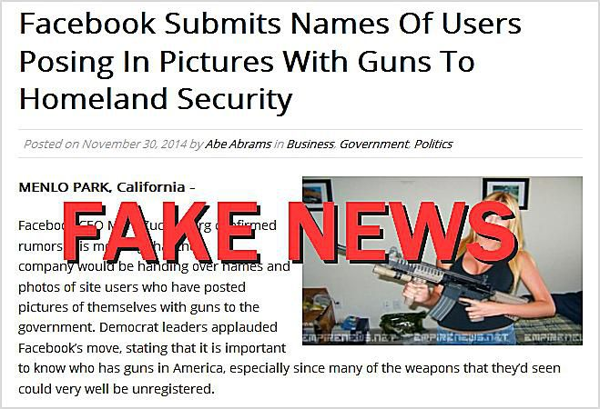 Facebook Submits Names of Users Posing in Pictures With Guns To Homeland Security