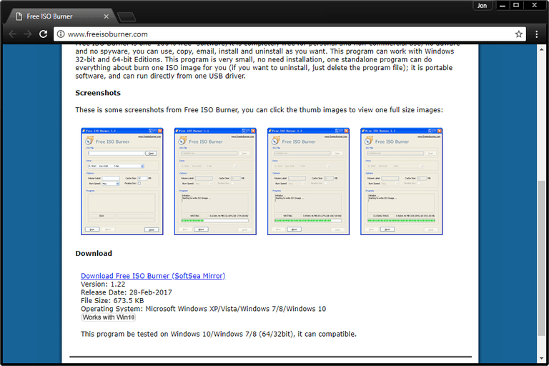 Screenshot of the Free ISO Burner download page
