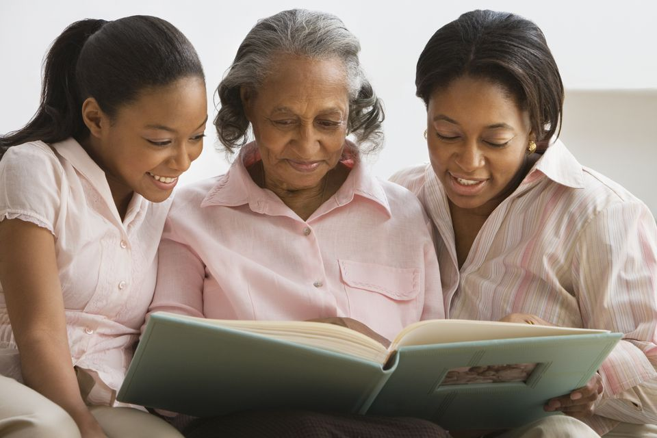 Three generations of women looking at photo book
