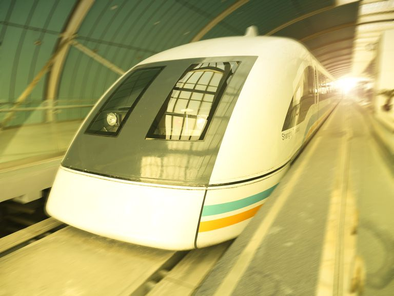 Maglev trains, like this one in Shanhgai China, essentially fly or levitate because of the magnetic field.