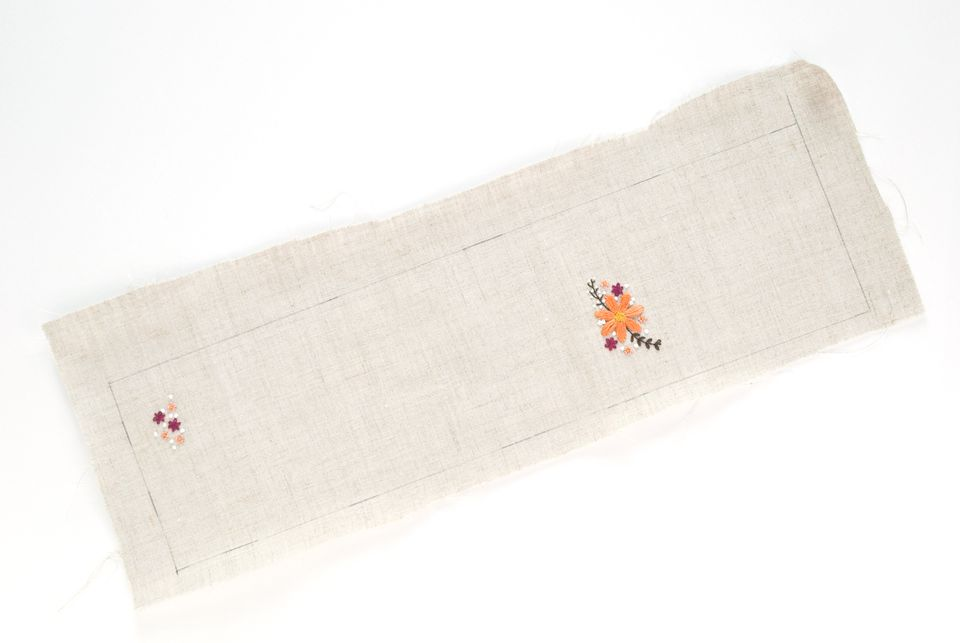 Mark the Rectangle and Embroider the Motifs