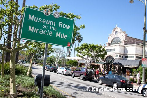 Museum Row on the Miracle Mile sign on Wilshire Blvd in Los Angeles
