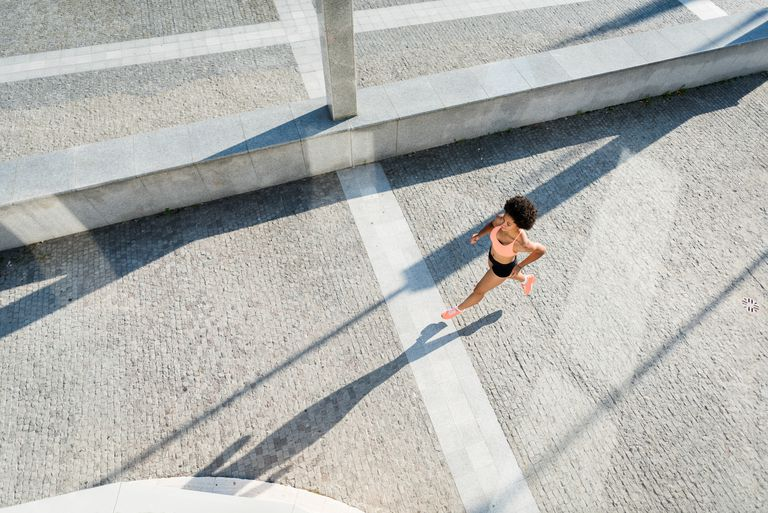 Top view of woman running