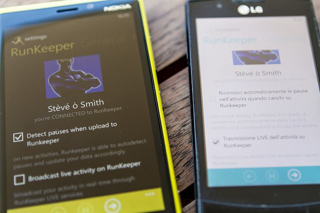 Photo of the RunKeeper app on two phones