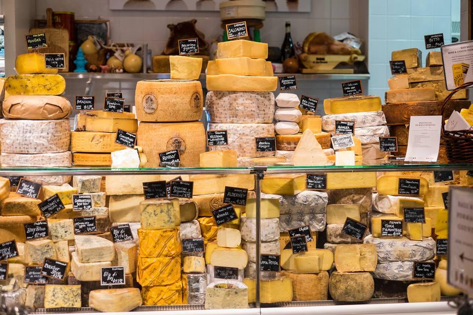 Cheese display at Eataly