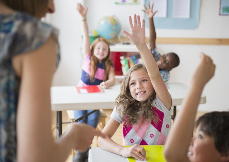 Children (8-9) raising hands in classroom
