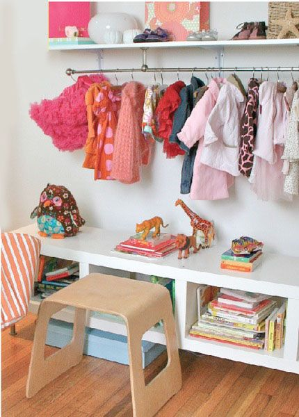 Wall Shelf Doubles As A Closet Rack In Kids Room